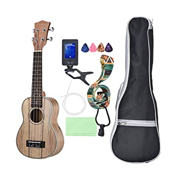 Musical Instruments Ammoon Soprano Ukelele 21 Inch Spalted Maple Body Rosewood Fingerboard Hawaiian Guitar Ukulele Set With Bag Strap String Picks Ukulele
