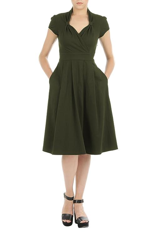 1940s Style Dresses and Clothing eShakti Womens Vintage style cotton jersey knit dress $58.95 AT vintagedancer.com