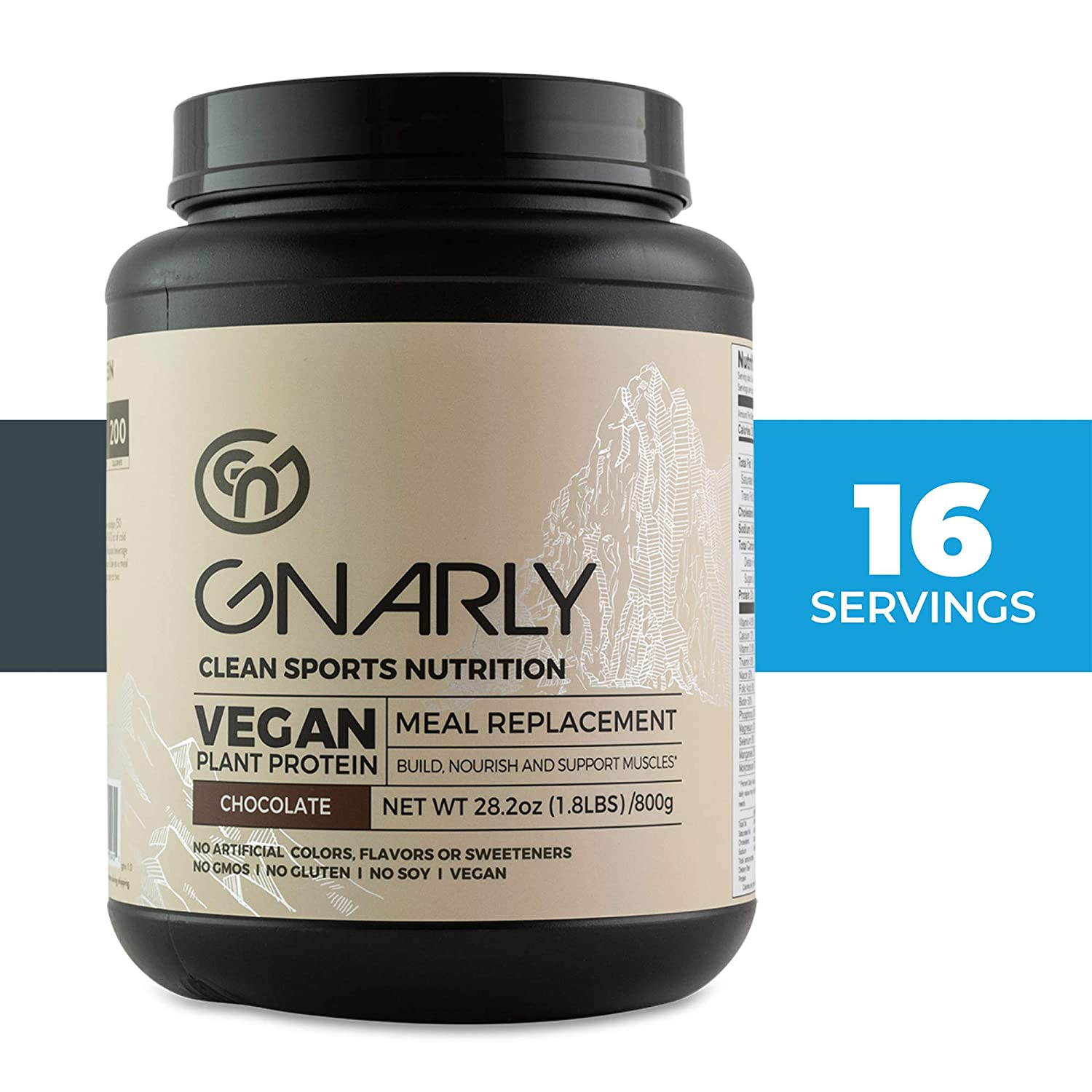 Gnarly Nutrition, Meal Replacement Vegan Protein Blend from Pea, Chia and Cranberry for Muscle Development, Chocolate, 28.2 Oz 16 Servings