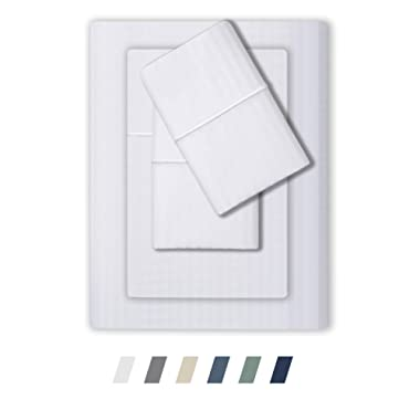 Feather & Stitch 500 Thread Count 100% Cotton Sheet Set, Stripe Sheets, Soft Sateen Weave, King Sheets, Deep Pockets,Hotel Collection,Luxury Bedding Super Sale 100% Cotton (White, King)