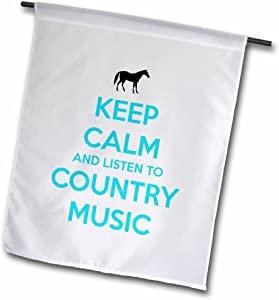 3dRose fl_173401_1 Keep Calm and Listen to Country Music. White and Turquoise. Horse Garden Flag, 12 by 18-Inch
