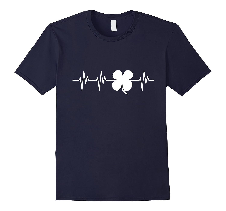 Clover Heartbeat Funny Ireland Irish Pride T Shirt Gift