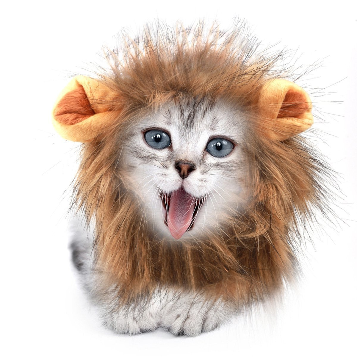 Sporer@ Pet Costumes Lion Mane Wig Cat Costume and Small cat and dog Costume with Complimentary Feathered Catnip Toy Headwear Hat with Ears for Halloween&Christmas(Yellow (K))