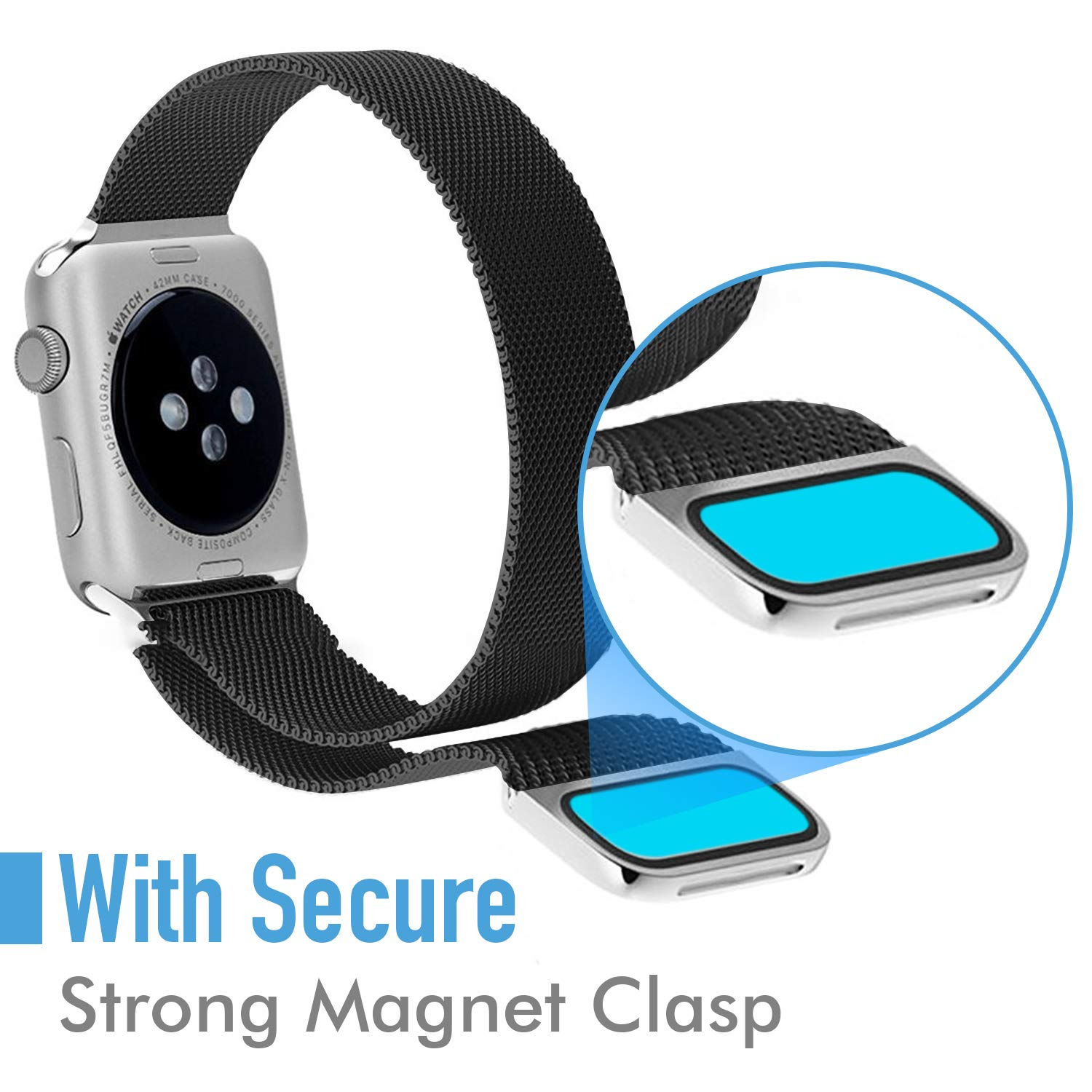 Compatible for Apple Watch Band 42mm 44mm, Stainless Steel Mesh Loop Bands with Adjustable Magnetic Closure Replacement for Iwatch Series 4 Black