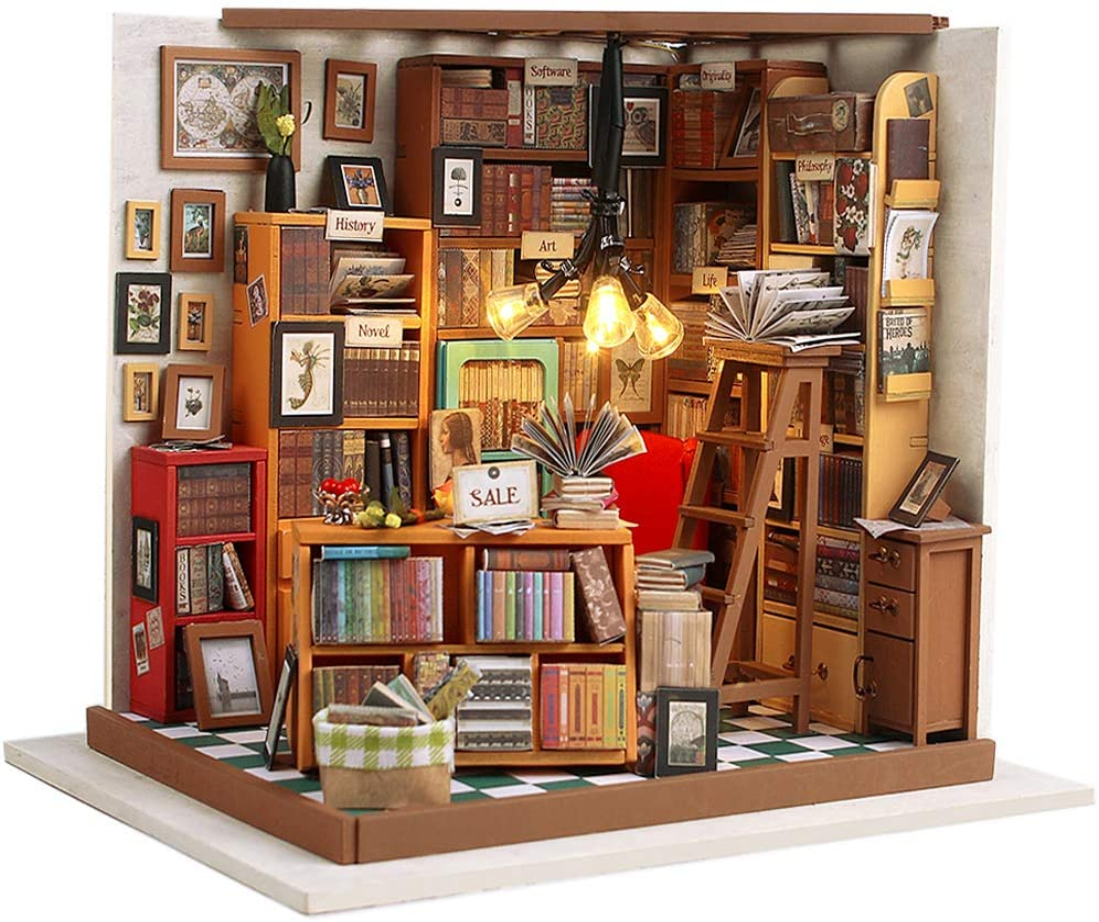 Fsolis DIY Dollhouse Miniature Kit with Furniture, Book Store Dollhouse 3D Wooden Miniature House, Library Miniature Dolls House kit (Sam's Study)