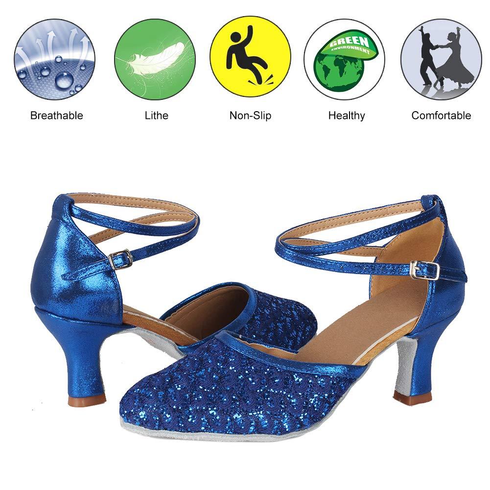 DKZSYIM Womens Party Glitter Latin Dance Shoes Ballroom Performance Shoes,Model MF1802-6