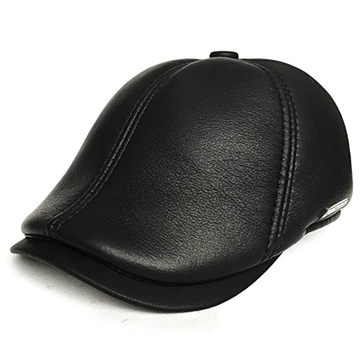 448aaddb61bd7 lethmik Leather Flat Hat Gatsby Newsboy Cap Cabbie ivy Irish Hats Driver  Hunting Black-S