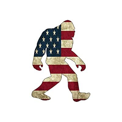 Rogue River Tactical USA Flag Bigfoot Sasquatch Sticker Bumper Car Decal Gift Patriotic American United States: Automotive