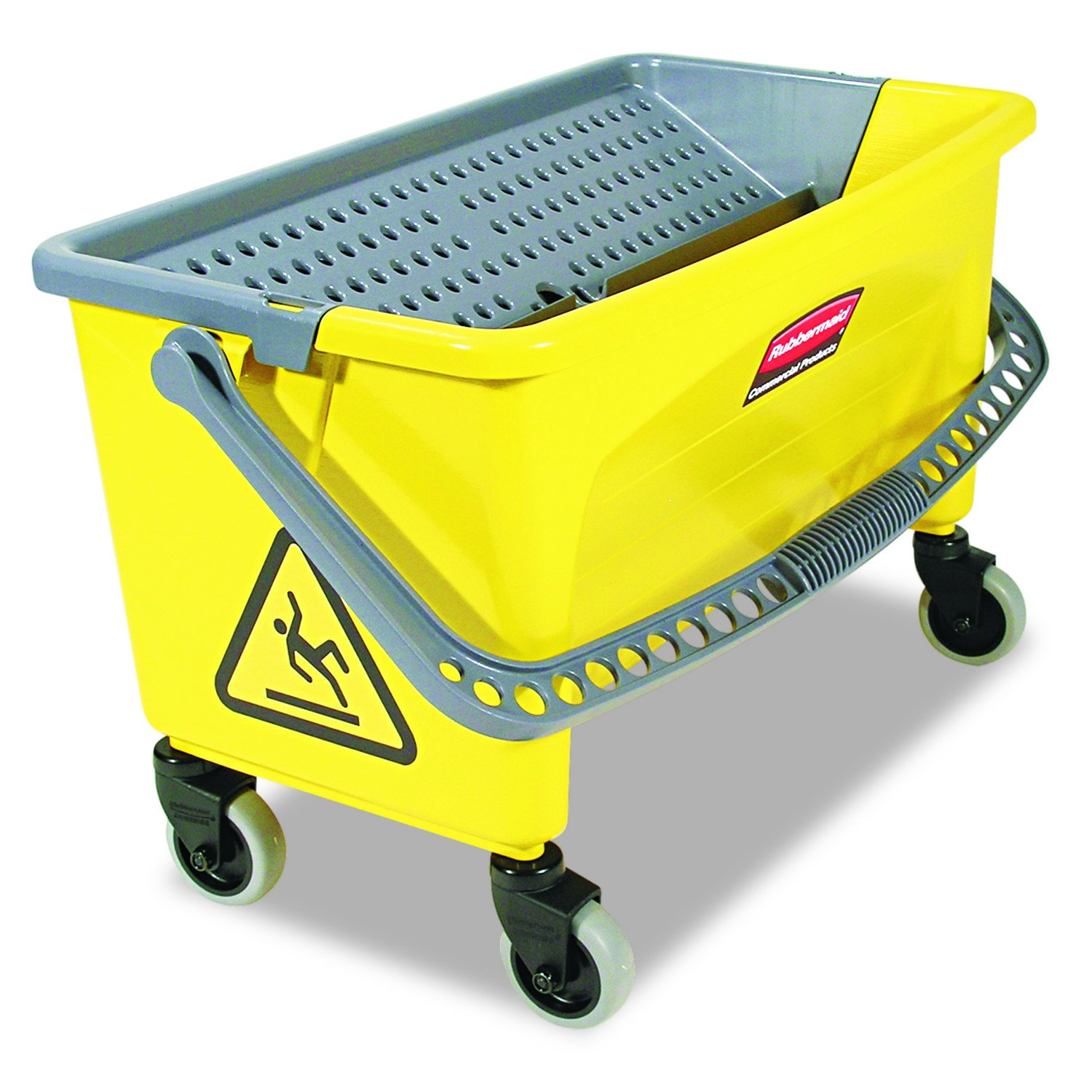 Rubbermaid Commercial HYGEN Q90088YW HYGEN Press Wring Bucket for Microfiber Flat Mops, Yellow FGQ90088YEL