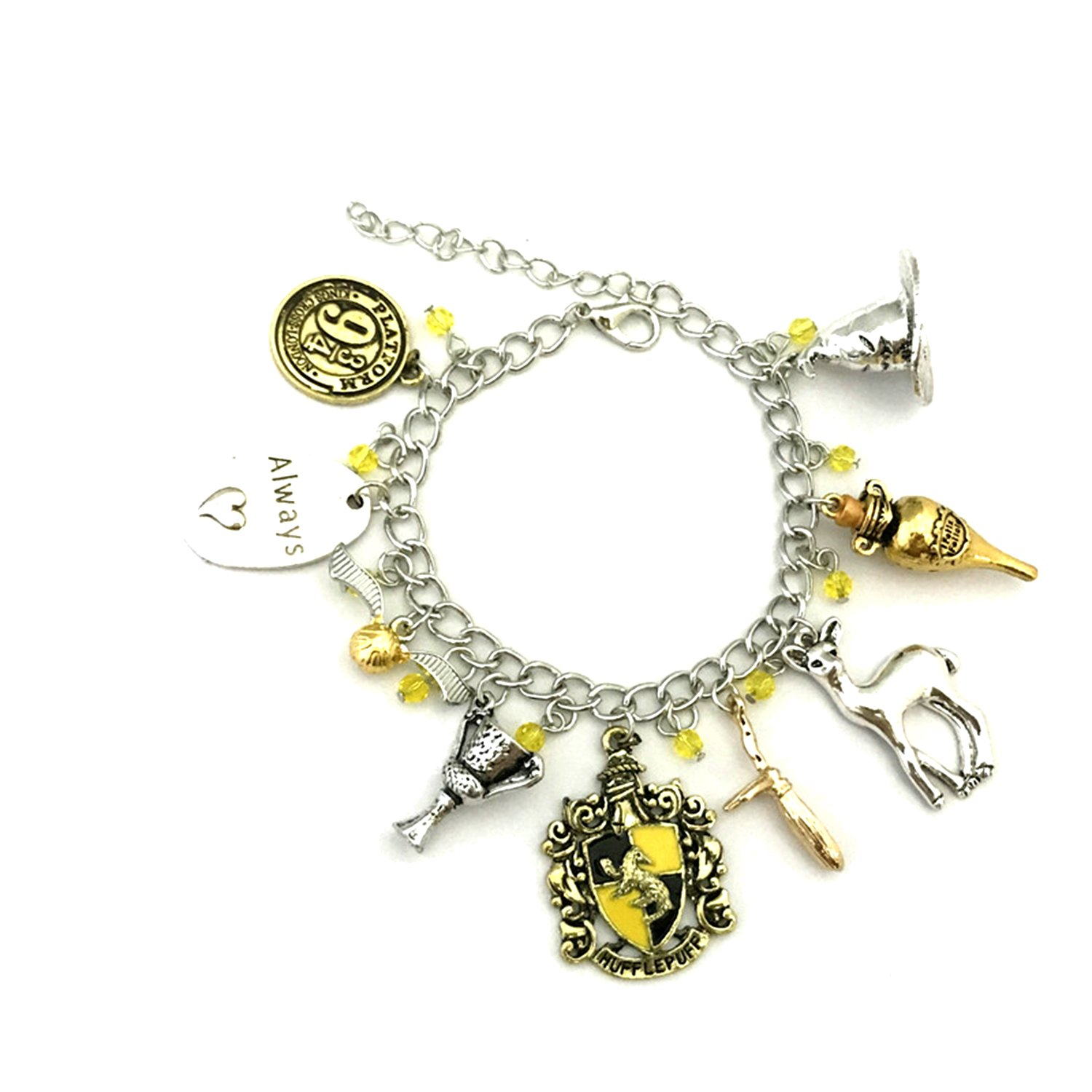 Hufflepuff Theme Multi Charms Lobster Clasp Bracelet in Gift Box