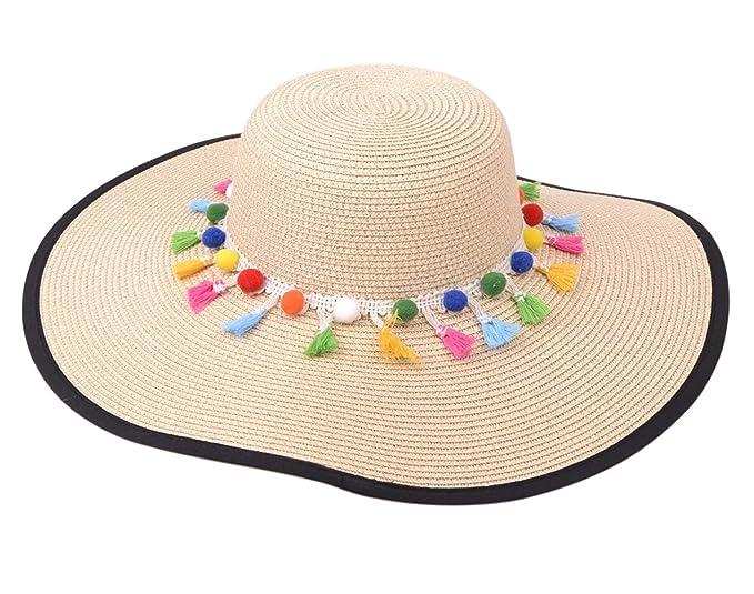 fb8a48cd99b3e Lanzom Womens Wide Brim Straw Hat Tassel Packable Adjustable Straw Beach  Floppy Sun Hat (Beige