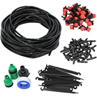 FONESO Drip Irrigation Kits, Dripper Sprinkler Plant Watering Irrigation Pipe, Irrigation Spray for Flower, Lawn, Patio, Garden Greenhouse Plants - DIY 82FT