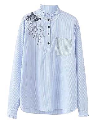 072ab850d09 Qiangjinjiu Womens Banded Collar Long Sleeve Embroidered Plus-Size  Asymmetrical-Hem T Shirt Blue