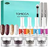 TOMICCA Nail Dipping Powder System, 4 Colors 0.52oz Glitter Colorful Powder For Dip System