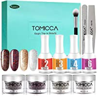 TOMICCA Nail Dipping Powder System Starter Kit of 4 Colors 0.52oz Glitter Colorful Powder For Dip System