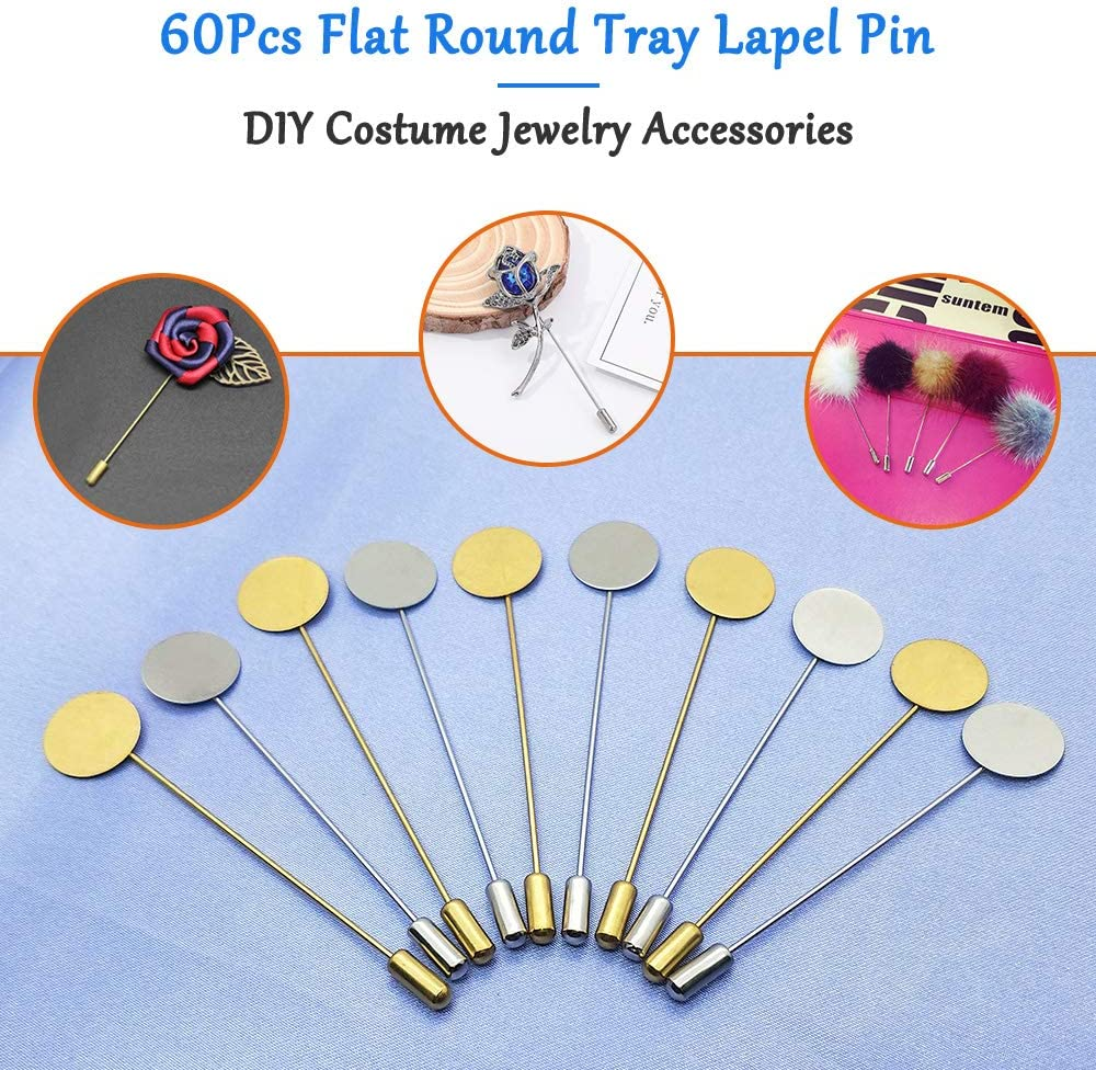 60Pcs Flat Round Tray Lapel Pin,Stainless Steel Safety Pins Stick Pins Brooch Pin Needle Suit Tie Hat pin Scarf Badge for DIY Costume Jewelry Making Accessories