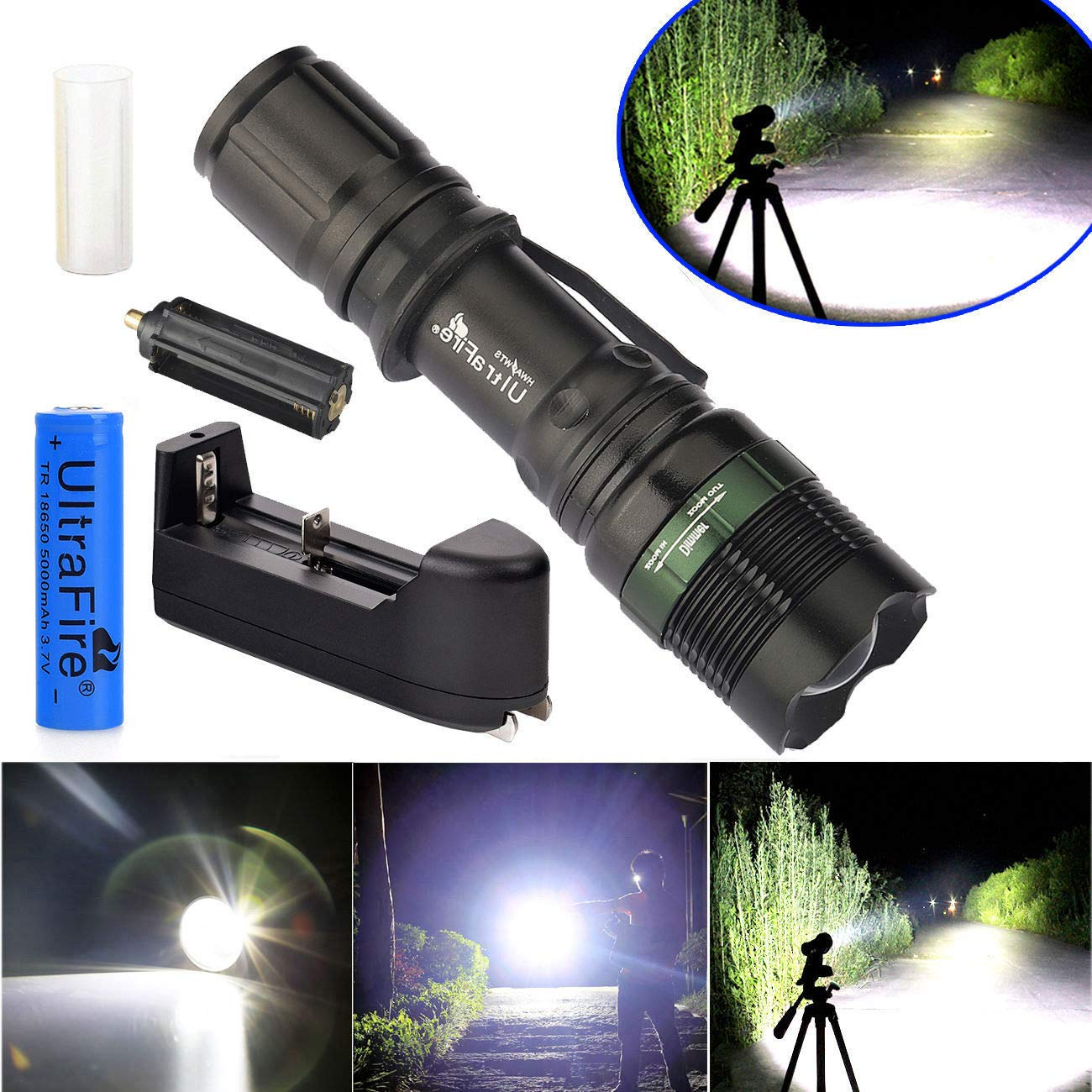 10000Lumen Zoomable T6 LED Flashlight Torch Tactical Light Aluminum
