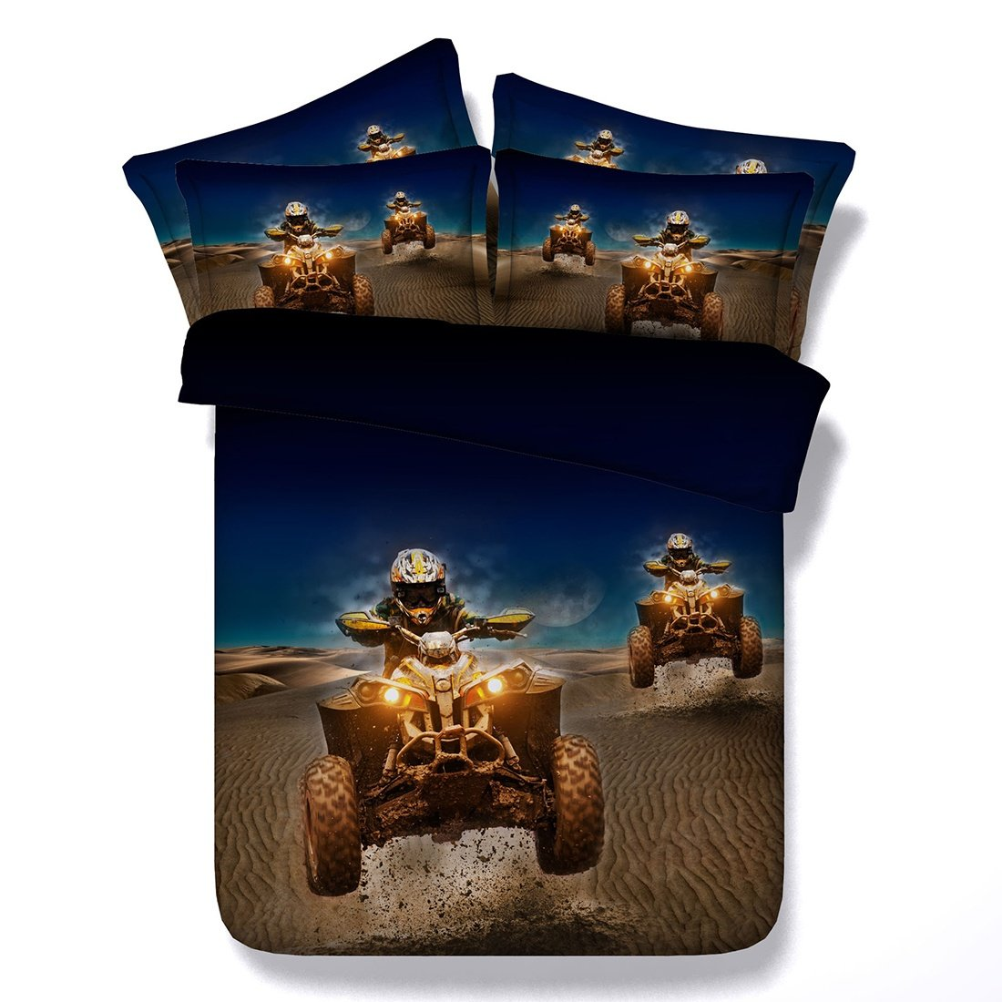 Aoeiuv Motocross Print Duvet Set Mikrofaser Königin König Für Erwachsene Kinder Teen Wohnheim Quilt 3 Teilige 1 Bettbezug, 2 Kissenbezüge, B, 200X220Cm