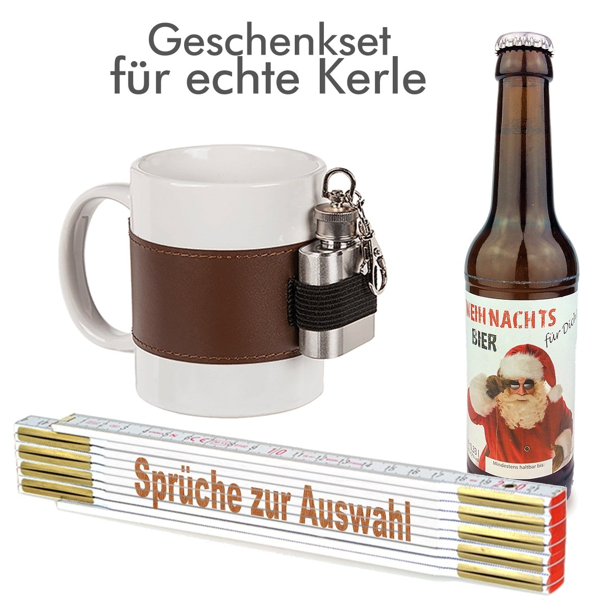 Nikolaus Handwerker Geschenk Bier Männer Zollstock Weihnachten