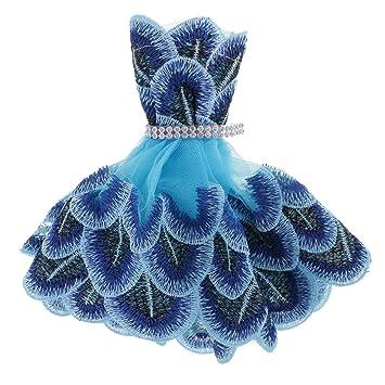 Gazechimp Encantador Vestido Azul de Pavo Real Ropa de Moda para Barbie Muñecas Accesorios Decoración de