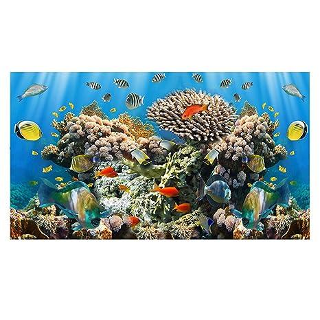 Hifuture Póster de Acuario con Fondo de Acuario diseño de Peces, de Coral Marino,