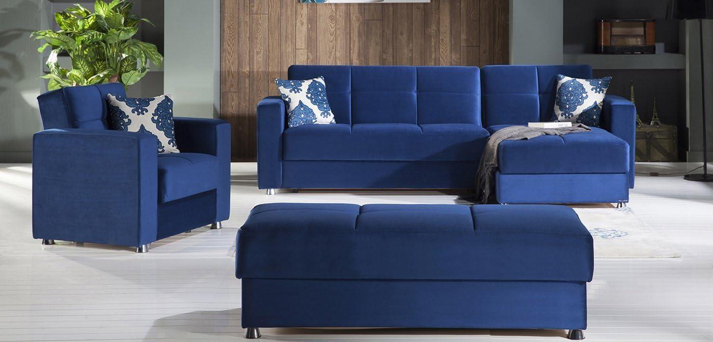 Istikbal Elegant Sectional Armchair Ottoman – Roma Navy Living Room Set