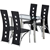 Mecor 5 Piece Dining Table Set/Glass Top Table and 4 Leather Chairs Kitchen Furniture (Black) (5 PC)