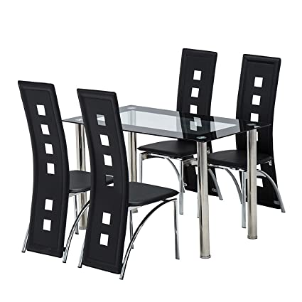 Mecor 5 Piece Dining Table Set/Glass Top Table And 4 Leather Chairs Kitchen  Furniture
