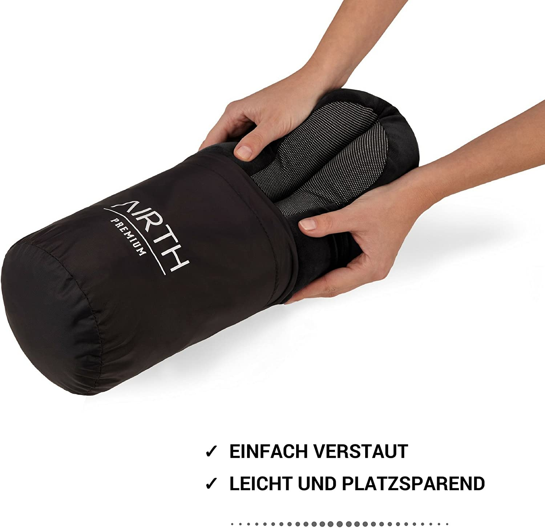 Premium Reisekissen mit GRATIS Schlafmaske und Ohrenst/öpsel Dunkelgrau AIRTH/® Reise-Nackenkissen Nackenh/örnchen aus Memory-Schaum-Stoff optimal st/ützend Dank Memory-Foam