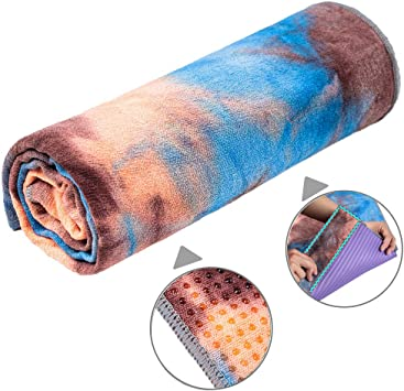 adorence Non Slip Yoga Towel (Upgraded PVC Grippies+Side Pockets) Microfiber Sweat Absorbent & Quick Dry Mat Towel - Ideal for Hot Yoga, Pilates and ...