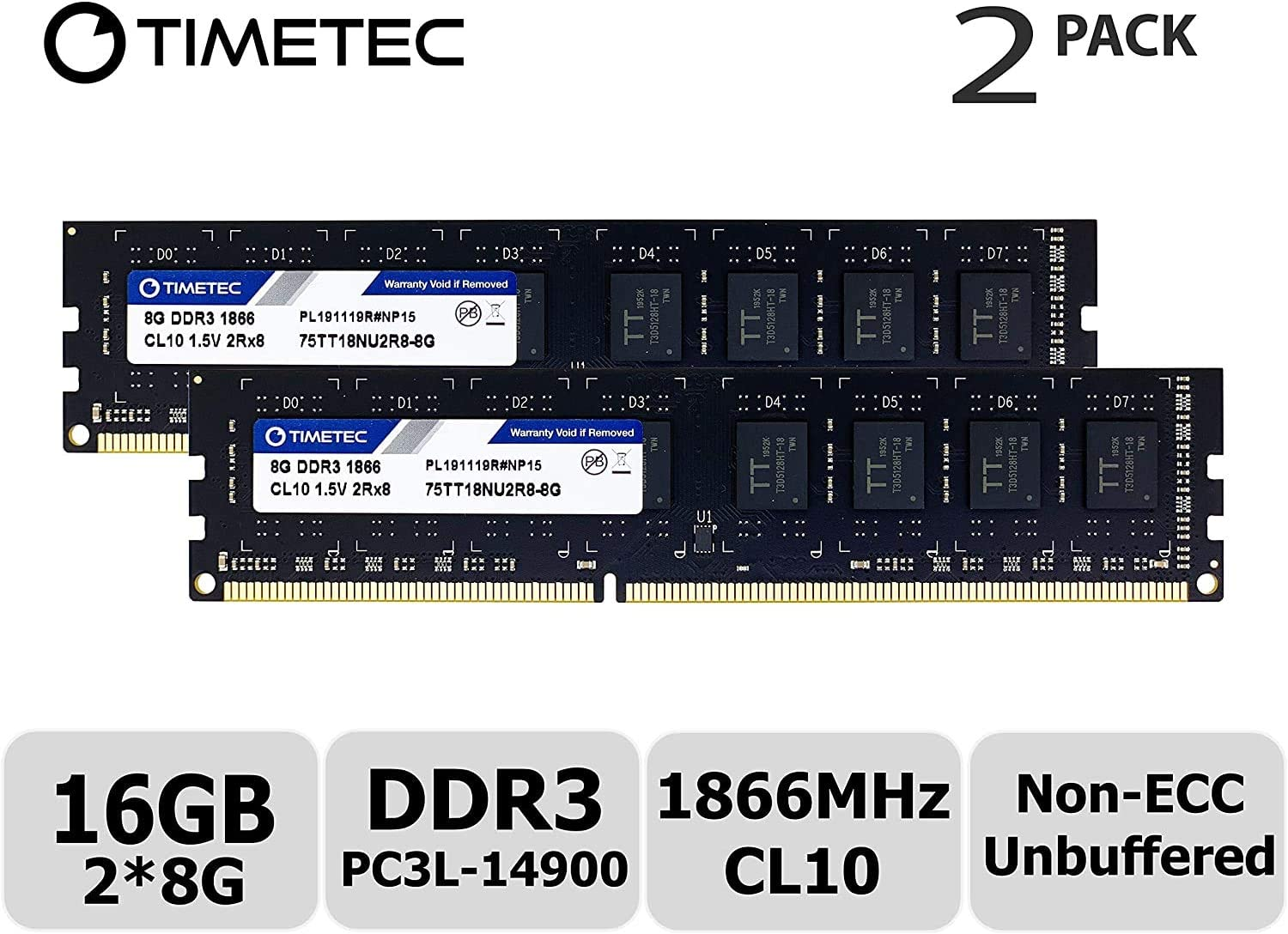 Timetec Hynix IC DDR3 1866MHz PC3-14900 Unbuffered Non-ECC 1.5V CL10 2Rx8 Dual Rank 240 Pin UDIMM Desktop Memory RAM Module Upgrade (16GB Kit (2x8GB))