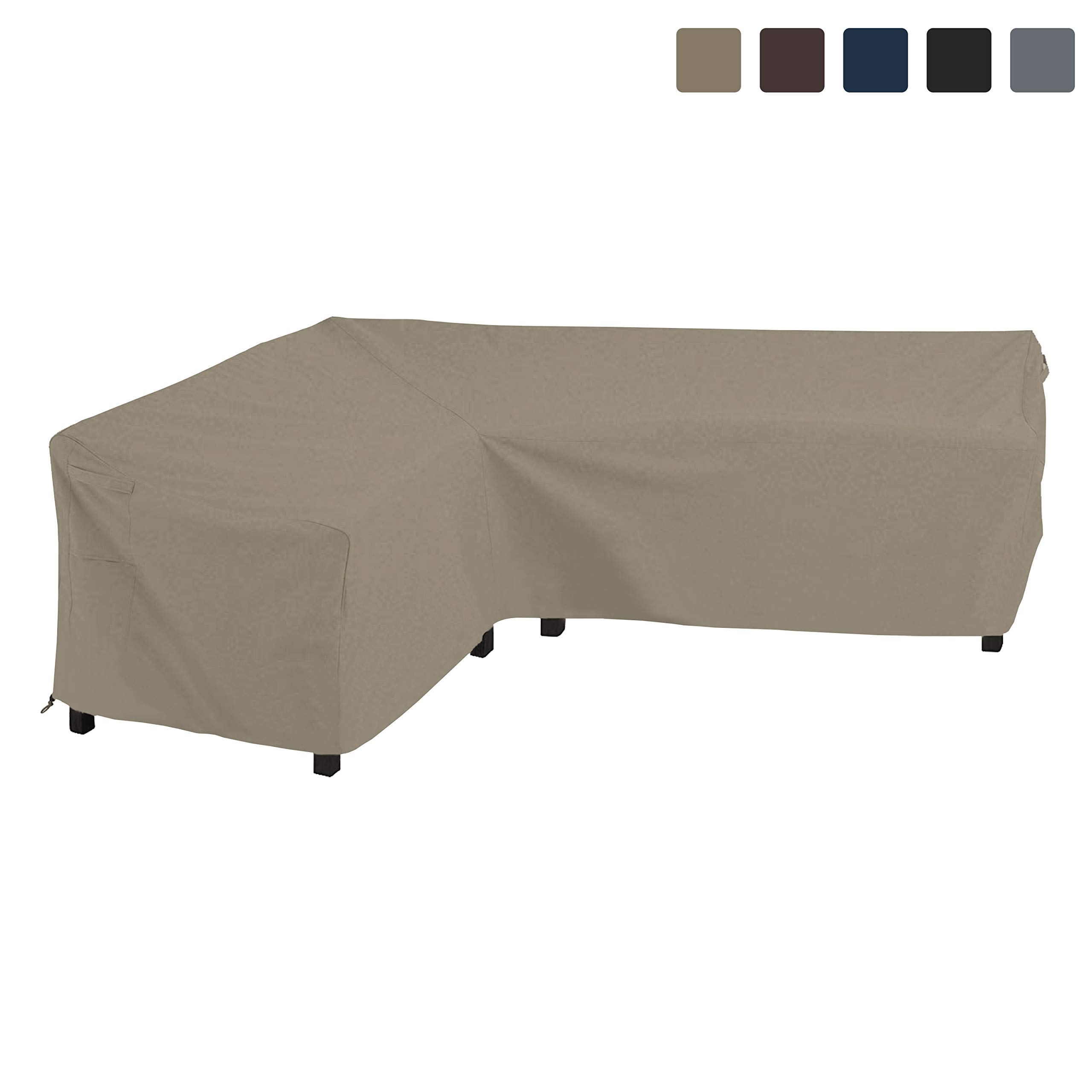 COVERS & ALL Patio Sectional Sofa Cover 12 Oz Waterproof - 100% UV & Weather Resistant PVC Coated 100'' x 130'' x 34''D x 38'' H - L Shape Sofa Cover for Indoor/Outdoor (Left Facing Sofa, Beige)