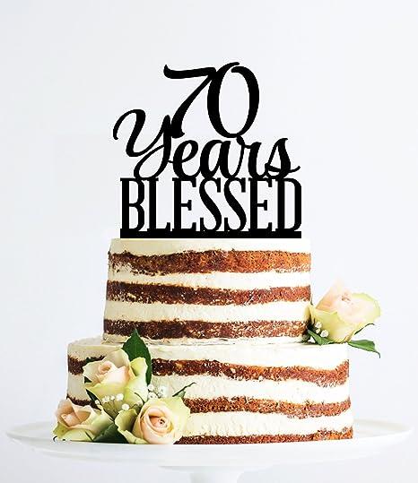 Qidushop 70 Years Blessed Birthday Cake Topper Elegant 70th Anniversary
