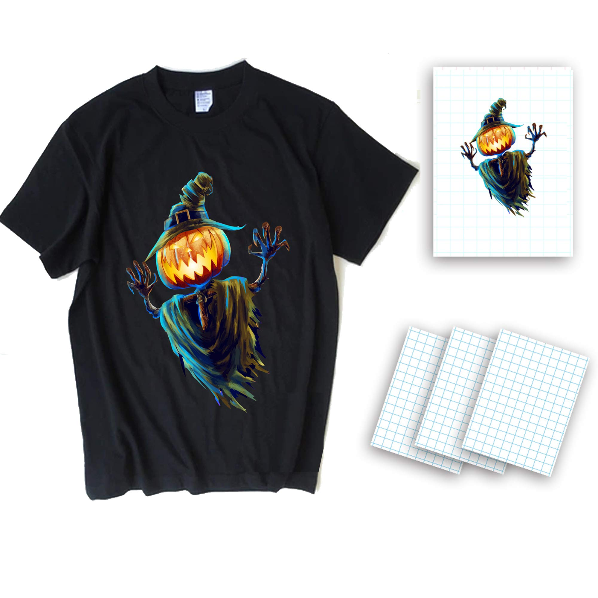 Dark T-Shirt Transfers A4 T-Shirt Transfers Heat Transfer Sheets Paper for Inkjet Printers, For Dark Fabric 8.27'' X 11.7'' (12 Sheets) Print Iron on -Make Your Own Halloween Shirt