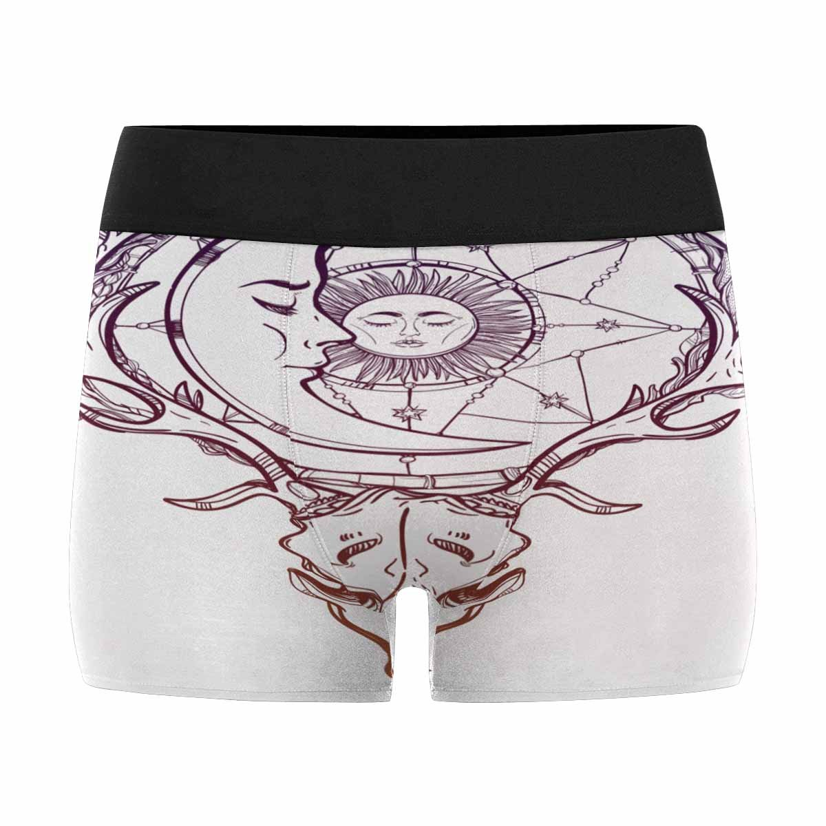 INTERESTPRINT Mens Boxer Briefs Vintage Deer Scull with Antlers Branches Dream Catcher