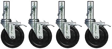 """Juego de 4 Multi Función de andamio Rolling Tower 5 """"Cuadrado Tallo ruedas cbm1290"""