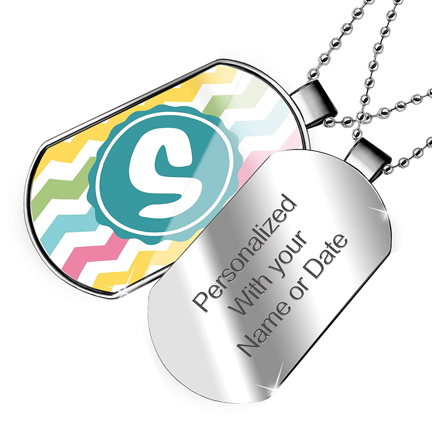 NEONBLOND Personalized Name Engraved Monogram S Yellow Pink Green Chevron Dogtag Necklace