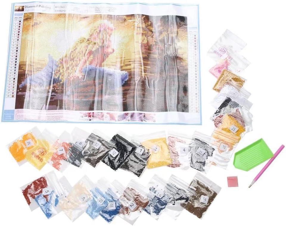 punto de Cruz DIY Pintura Diamante Kits Artes Flor Rosa 12X16 Pulgadas ESOOR 5D Pintura DIY Diamante