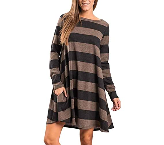 Autumn Winter Dress Women Loose Dress Long Sleeve Vestidos Vintage Retro Robe Femme Boho Mini at Amazon Womens Clothing store: