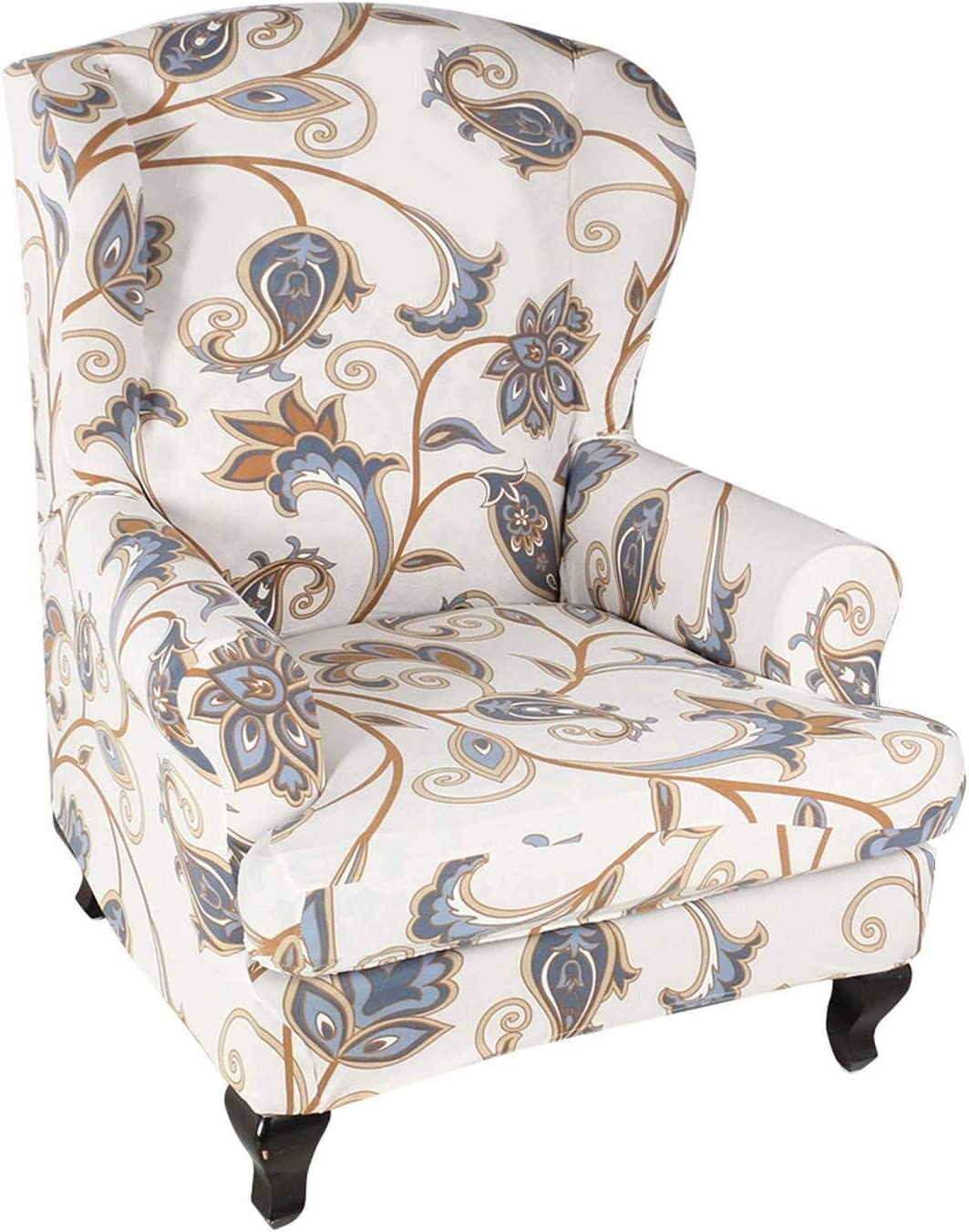 Stretch Wingback Chair Cover,2 Pieces Printed Wing Chair Cover Universal Washable Wingback Chair Slipcover Spandex Furniture Protector for Living Room Decoration,Stretch Wingback Chair Cover