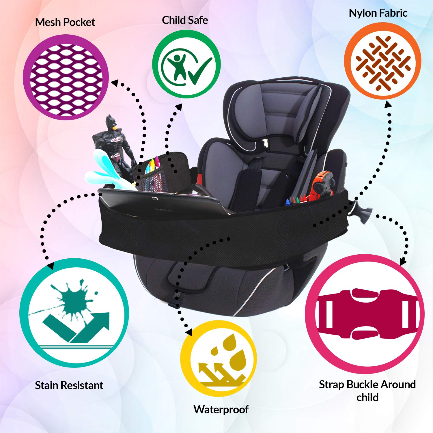 Tablet Holder Toy Organizer Crayon Organizer Strong Buckles Waterproof Mesh Pockets Sturdy Base /& Side Walls 16 x 14 Reinforced Surface DMoose Toddler Car Seat Travel Tray