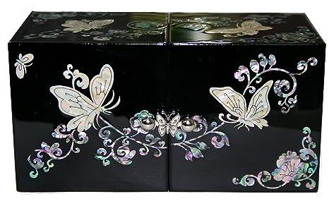 b3ab13f59323 Madreperla Folwer de mariposa diseño de joyas de nácar de pantalla Joyero  Negro azul 2 colores