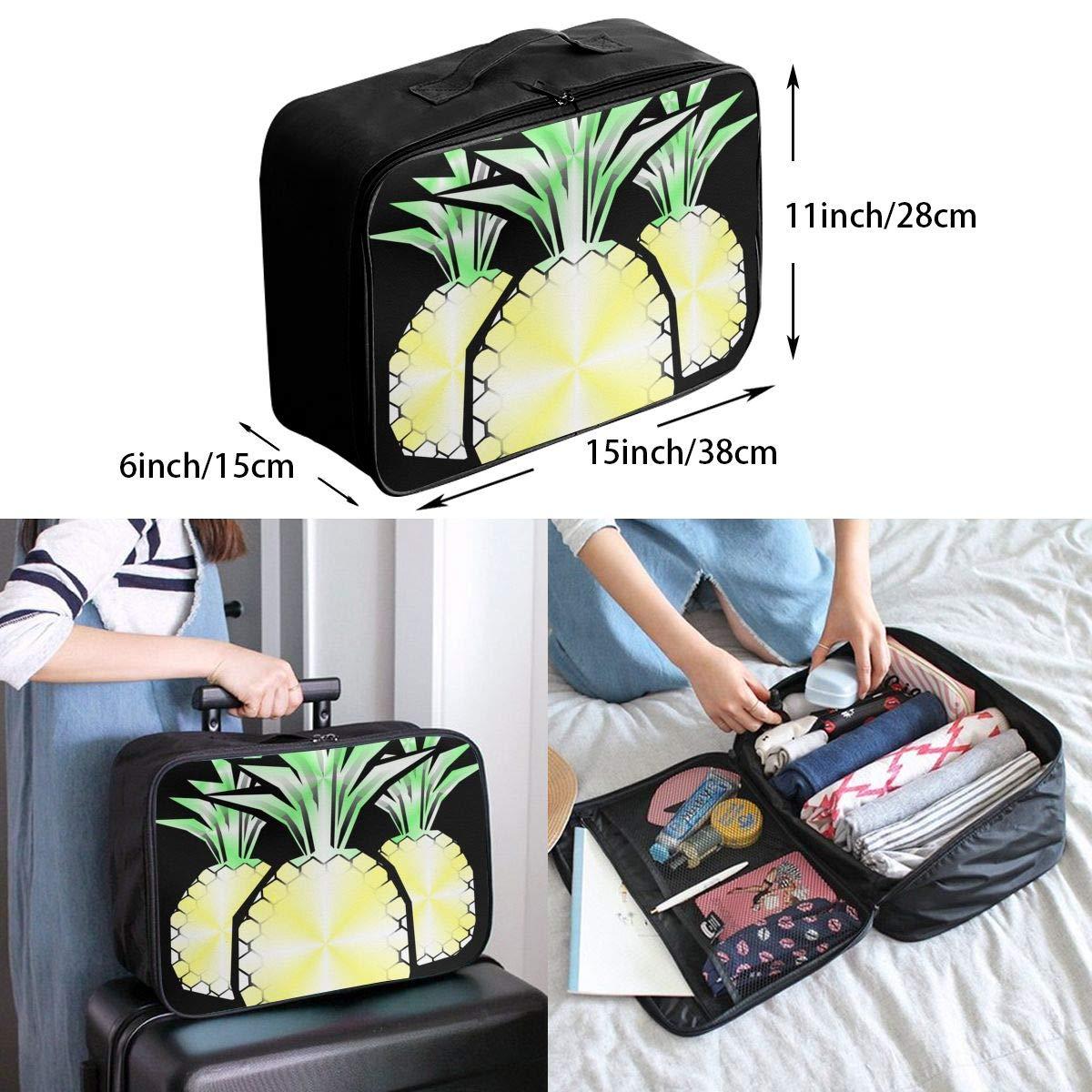 ADGAI Oil Painting Pineapple Canvas Travel Weekender Bag,Fashion Custom Lightweight Large Capacity Portable Luggage Bag,Suitcase Trolley Bag