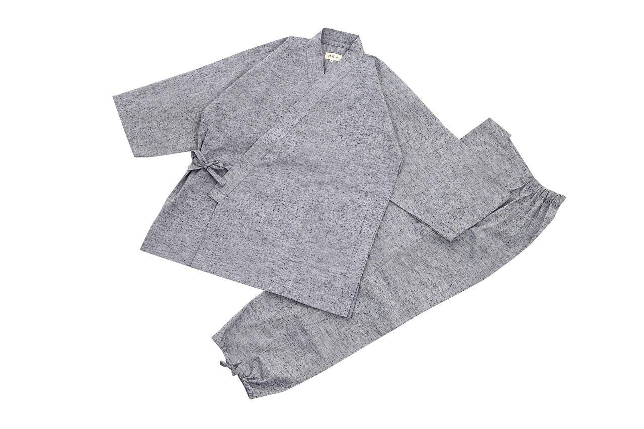 江戸てん 作務衣 久留米紬織り 日本製 高級 素材からこだわりました つむぎ メンズ B00NPQMW02 L|ライトグレー ライトグレー L