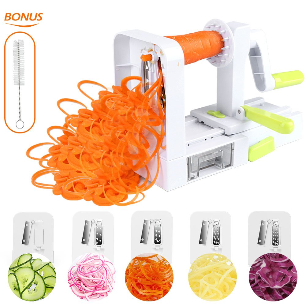 Foldable Spiralizer Vegetable Slicer, 5 Blade With Powerful Suction Base, Strongest-and-Heaviest Duty Vegetable Spiral Slicer (Free Recipe Book and Cleaning Brush) CHUGOD