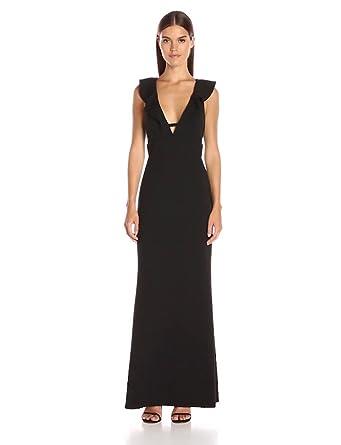 ABS Allen Schwartz Women's Ruffle Front Deep-V Gown in Stretch Crepe Scuba, Black, X-Small