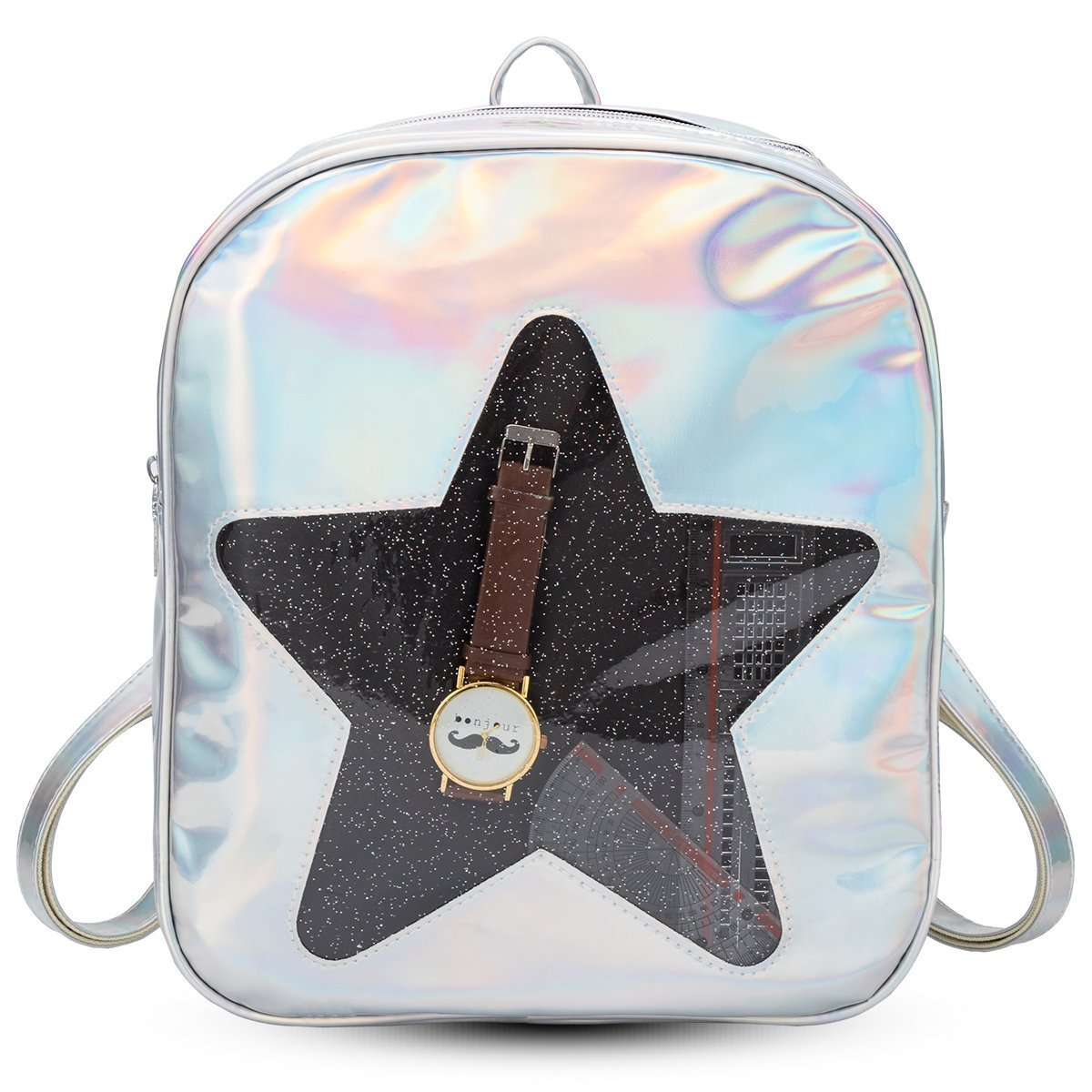 Girls Kawaii Bling Transparent Love Star School Bag Backpack (Star-Silver) by XSCOMSPORT (Image #1)