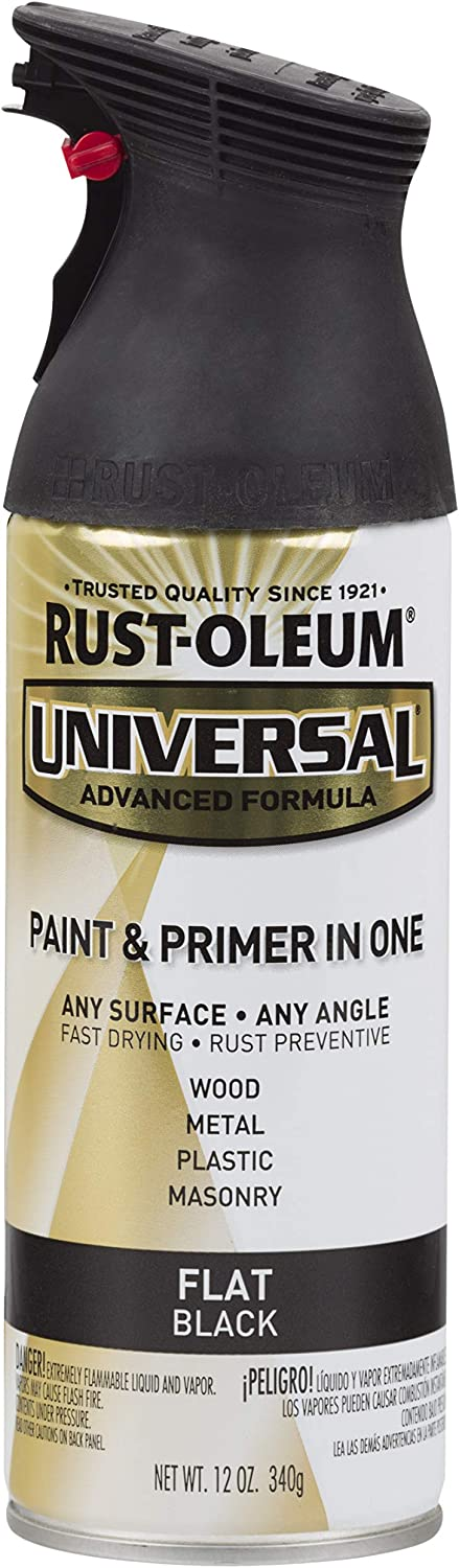 Rust-Oleum 245198, 12 oz, Flat Black Universal All Surface Spray Paint