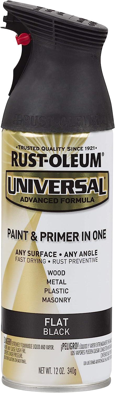Rust-Oleum 245198, 12 oz, Flat Black Universal All Surface Spray Paint