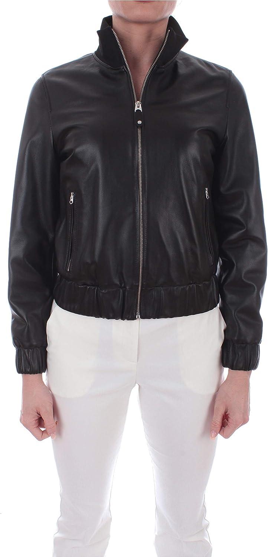 Calvin Klein Ribbed Collar Leather Jacket Giacca in Pelle da Donna Calvin Black,K201653